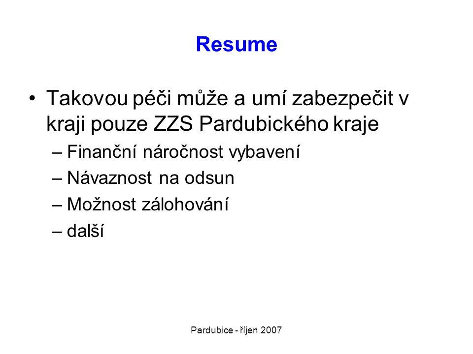 Pardubice - říjen 2007 Resume •Takovou péči může a umí zabezpečit v kraji pouze ZZS Pardubického kraje –Finanční náročnost vybavení –Návaznost na odsu