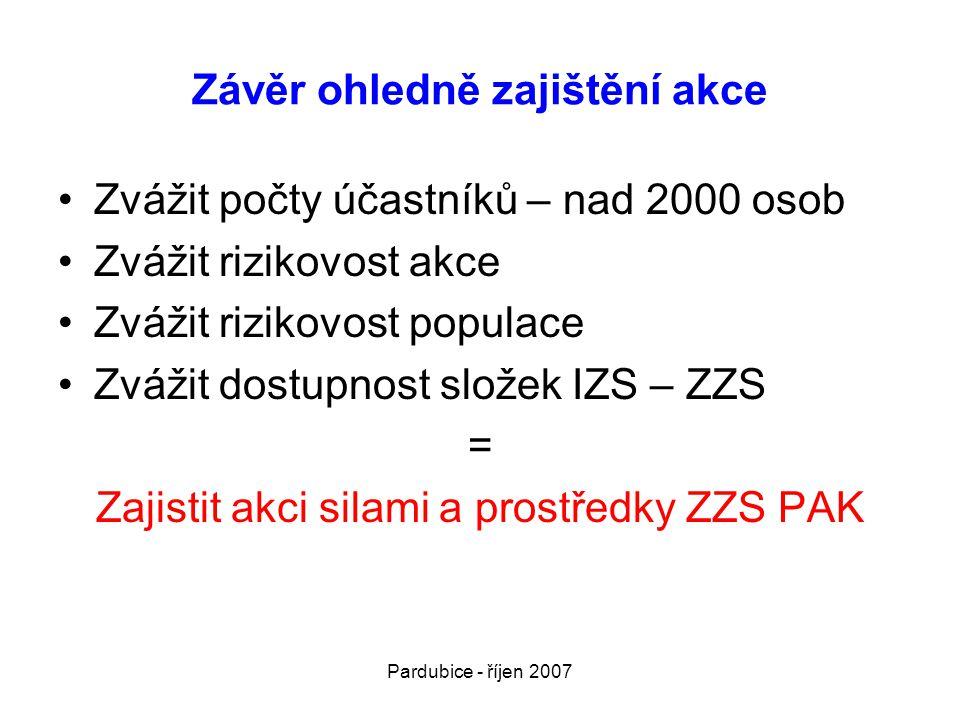 Pardubice - říjen 2007 Závěr ohledně zajištění akce •Zvážit počty účastníků – nad 2000 osob •Zvážit rizikovost akce •Zvážit rizikovost populace •Zvážit dostupnost složek IZS – ZZS = Zajistit akci silami a prostředky ZZS PAK