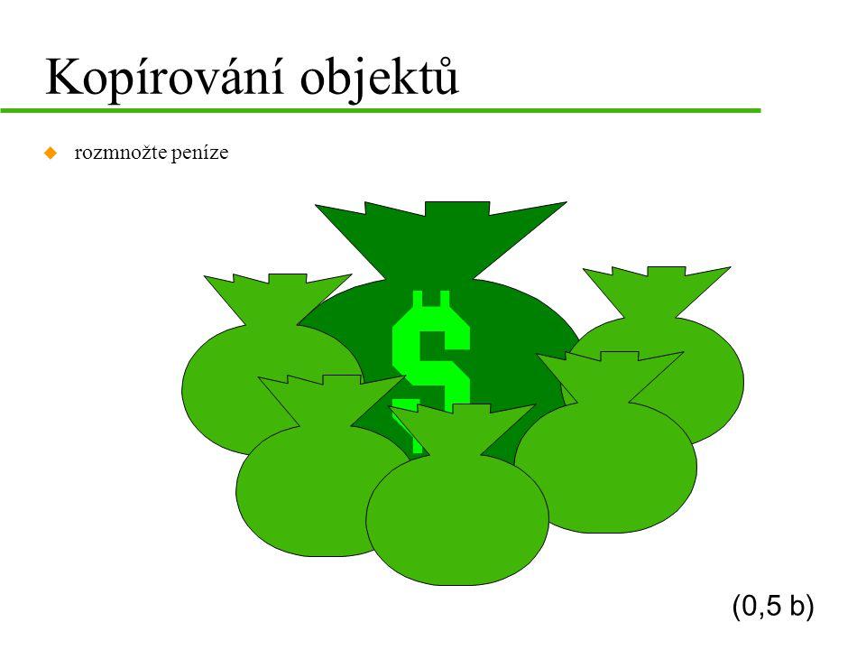 Kopírování objektů u rozmnožte peníze (0,5 b)