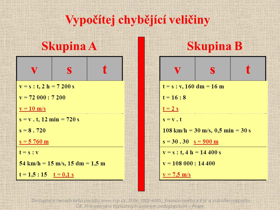 Skupina ASkupina B vst ? 72 000 m 2h2h 8 m/s ? 12 min 54 km/h 15 dm ? Vypočítej chybějící veličiny vst 8 m/s 160 dm ? 108 km/h ? 0,5 min ? 108 000 m 4