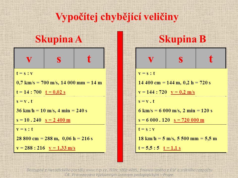 Skupina ASkupina B vst 0,7 km/s 14 000 mm ? 36 km/h ? 4 min ? 28 800 cm 0,06 h vst ? 14 400 cm 0,2 h 6 km/s ? 2 min 18 km/h 5 500 mm ? Vypočítej chybě