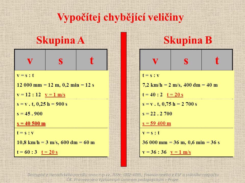 Skupina ASkupina B vst ? 12 000 mm 0,2 min 45 m/s ? 0,25 h 10,8 km/h 600 dm ? vst 7,2 km/h 400 dm ? 22 m/s ? 0,75 h ? 36 000 mm 0,6 min Vypočítej chyb