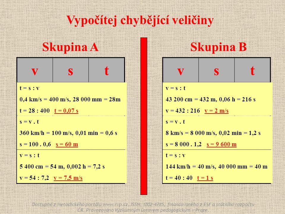 Skupina ASkupina B vst 0,4 km/s 28 000 mm ? 360 km/h ? 0,01 min ? 5 400 cm 0,002 h vst ? 43 200 cm 0,06 h 8 km/s ? 0,02 min 144 km/h 40 000 mm ? Vypoč