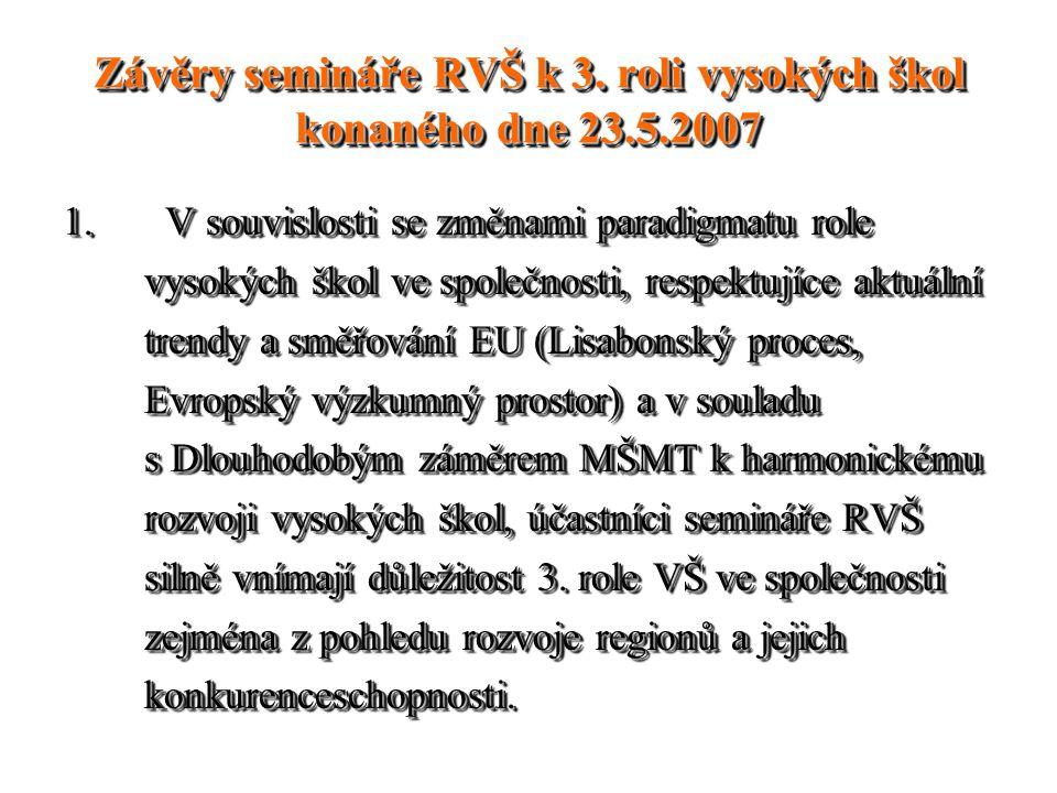 Závěry semináře RVŠ k 3. roli vysokých škol konaného dne 23.5.2007 1. V souvislosti se změnami paradigmatu role vysokých škol ve společnosti, respektu