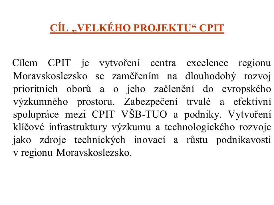 """CÍL """"VELKÉHO PROJEKTU"""" CPIT Cílem CPIT je vytvoření centra excelence regionu Moravskoslezsko se zaměřením na dlouhodobý rozvoj prioritních oborů a o j"""