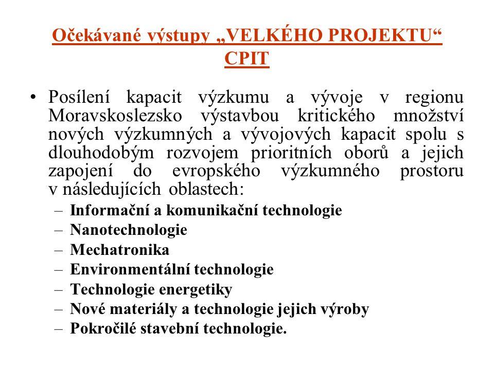 """Očekávané výstupy """"VELKÉHO PROJEKTU"""" CPIT •Posílení kapacit výzkumu a vývoje v regionu Moravskoslezsko výstavbou kritického množství nových výzkumných"""
