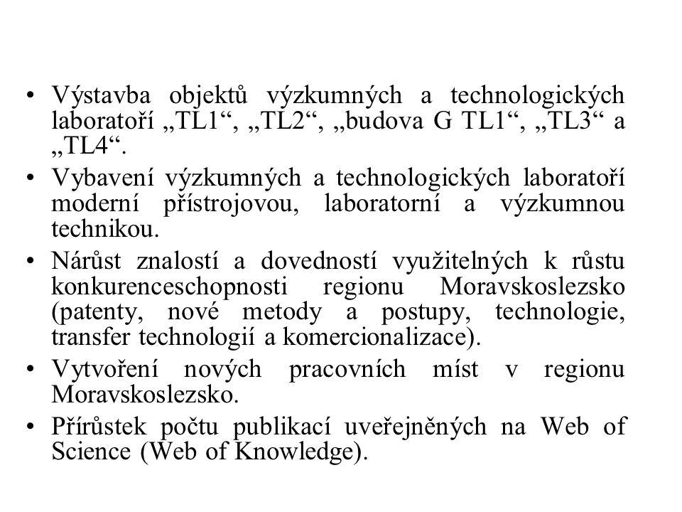 """•Výstavba objektů výzkumných a technologických laboratoří """"TL1"""", """"TL2"""", """"budova G TL1"""", """"TL3"""" a """"TL4"""". •Vybavení výzkumných a technologických laborato"""
