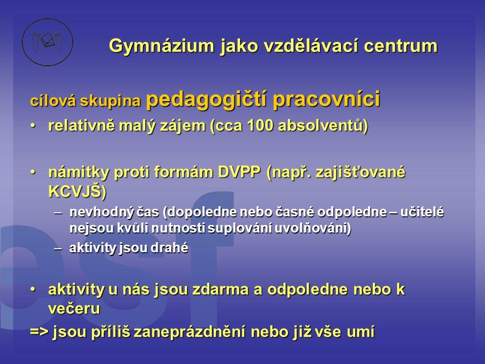 Gymnázium jako vzdělávací centrum cílová skupina pedagogičtí pracovníci •relativně malý zájem (cca 100 absolventů) •námitky proti formám DVPP (např.