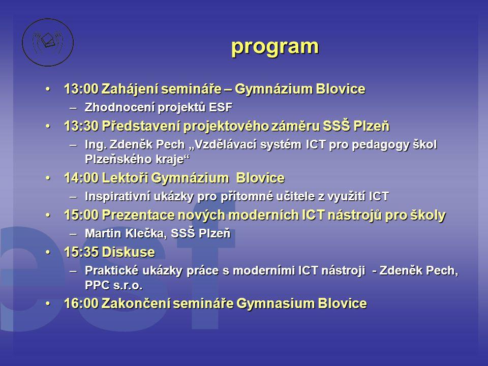 program •13:00 Zahájení semináře – Gymnázium Blovice –Zhodnocení projektů ESF •13:30 Představení projektového záměru SSŠ Plzeň –Ing.