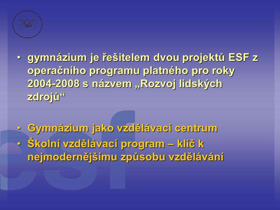 """•gymnázium je řešitelem dvou projektů ESF z operačního programu platného pro roky 2004-2008 s názvem """"Rozvoj lidských zdrojů •Gymnázium jako vzdělávací centrum •Školní vzdělávací program – klíč k nejmodernějšímu způsobu vzdělávání"""