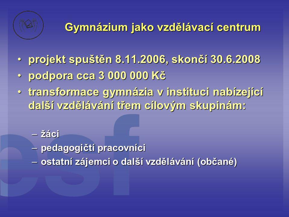 Gymnázium jako vzdělávací centrum •prostředky využity na: •1.