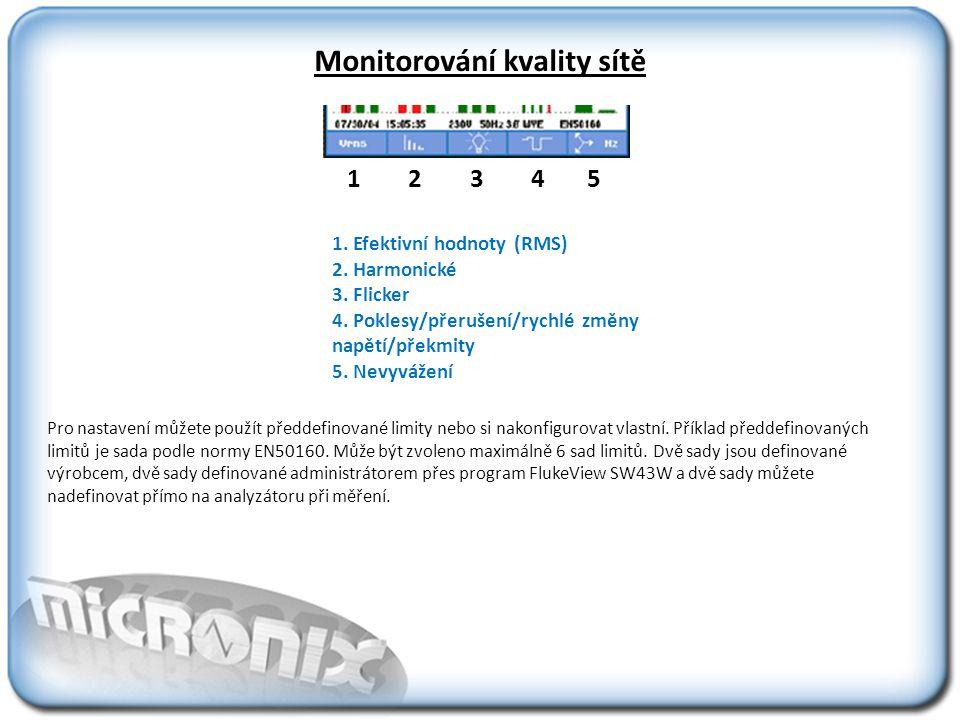 Monitorování kvality sítě Pro nastavení můžete použít předdefinované limity nebo si nakonfigurovat vlastní.