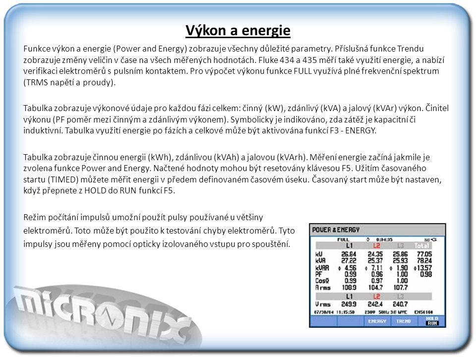 Výkon a energie Funkce výkon a energie (Power and Energy) zobrazuje všechny důležité parametry.
