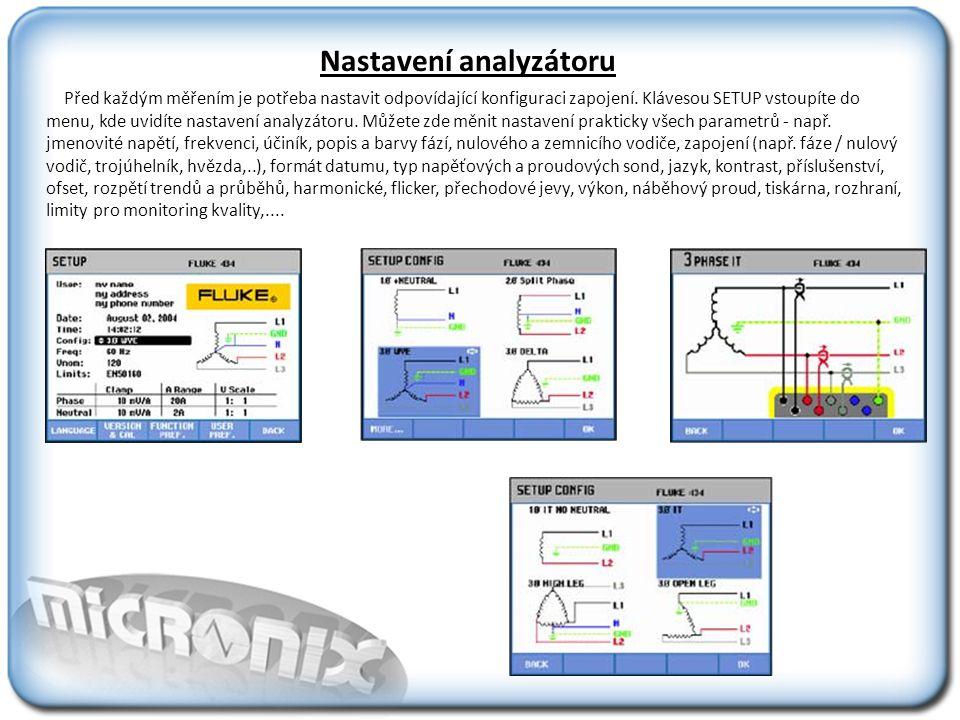 Analyzátor pro prezentaci naměřených výsledků využívá pro maximální efektivitu práce pět druhů obrazovek.