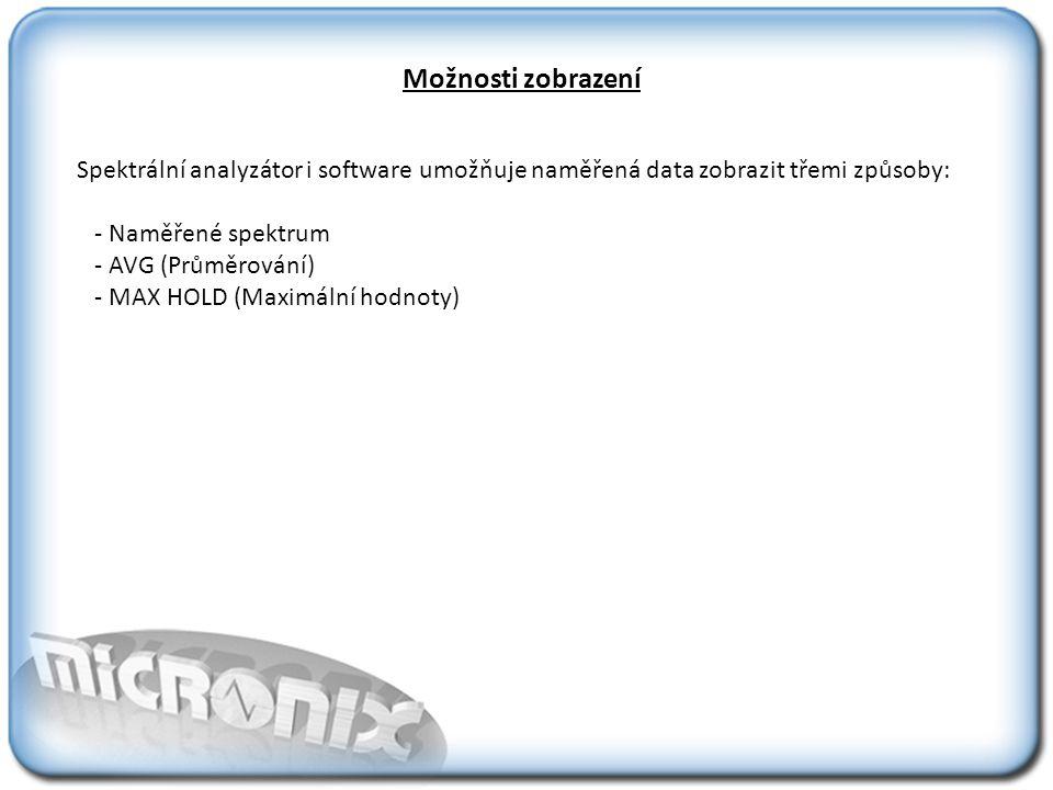 Možnosti zobrazení Spektrální analyzátor i software umožňuje naměřená data zobrazit třemi způsoby: - Naměřené spektrum - AVG (Průměrování) - MAX HOLD (Maximální hodnoty)