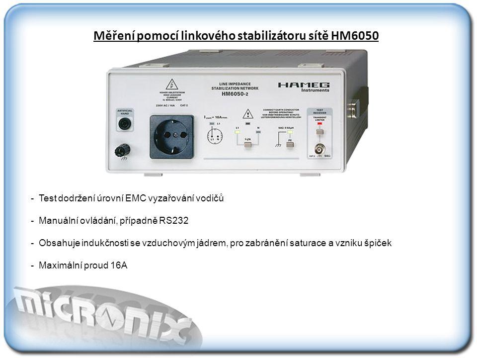 Měření pomocí linkového stabilizátoru sítě HM6050 - Test dodržení úrovní EMC vyzařování vodičů - Manuální ovládání, případně RS232 - Obsahuje indukčnosti se vzduchovým jádrem, pro zabránění saturace a vzniku špiček - Maximální proud 16A