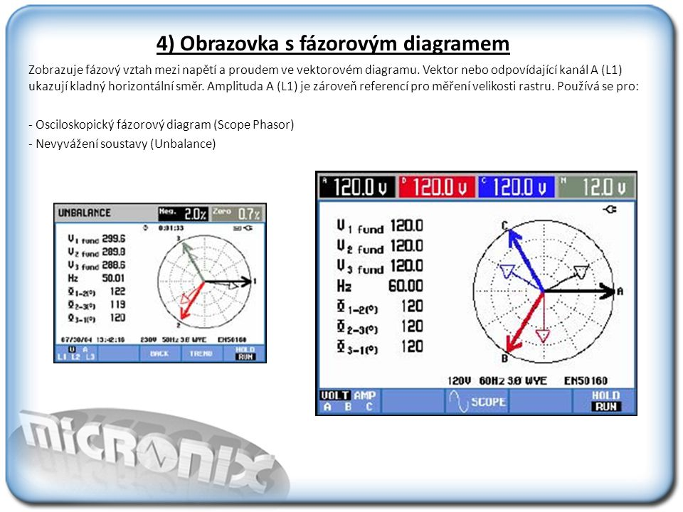 5) Obrazovka sloupcových grafů Obrazovka sloupcových grafů se využívá k zobrazení harmonických, a monitoringu sítě.