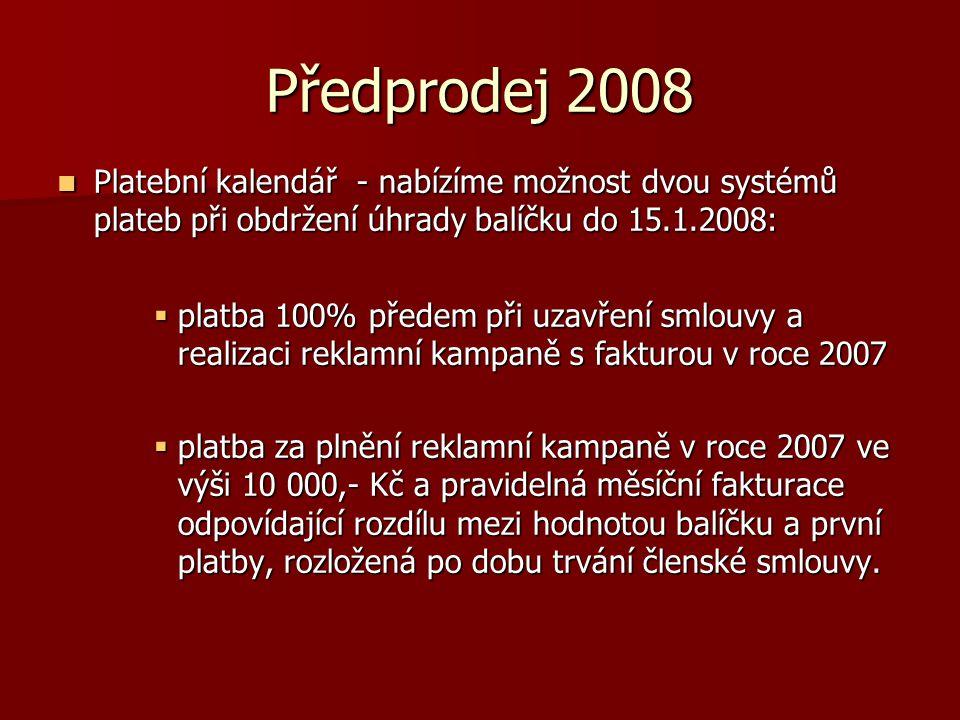Předprodej 2008  Platební kalendář - nabízíme možnost dvou systémů plateb při obdržení úhrady balíčku do 15.1.2008:  platba 100% předem při uzavření