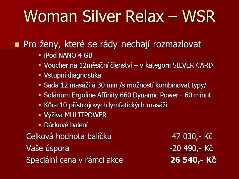 Woman Silver Profi Spinning - WSPS  Pro dynamické ženy, které mají rády výzvu  Sporttester POLAR CS300 nebo iPod NANO 4 GB  Voucher na 12měsíční členství – v kategorii SILVER CARD  Vstupní diagnostika  Tréninkový plán – www.cyklotrenink.com na 6 měsíců www.cyklotrenink.c  Trénink s osobním trenérem – 12 lekcí  Sada 12 masáží á 30 min /s možností kombinovat typy/  Kůra 10 přístrojových lymfatických masáží  Výživa MULTIPOWER  Dárkové balení Celková hodnota balíčku55 680,- Kč Vaše úspora -22 890,- Kč Speciální cena v rámci akce 32 790,- Kč