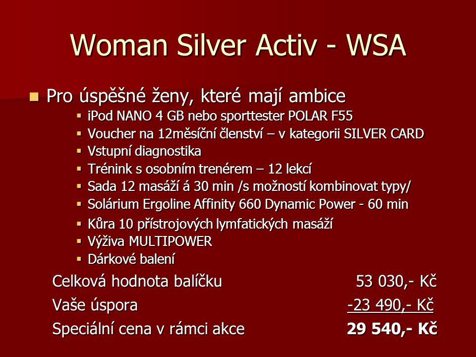 Man Silver Relax - MSR  Pro muže, který je rád hýčkán  iPod NANO 4 GB  Voucher na 12měsíční členství – v kategorii SILVER CARD  Vstupní diagnostika  Sada 12 masáží á 30 min /s možností kombinovat typy/  Solárium Ergoline Affinity 660 Dynamic Power - 60 min  Výživa MULTIPOWER  Dárkové balení Celková hodnota balíčku42 030,- Kč Vaše úspora -17 990,- Kč Speciální cena v rámci akce 24 040,- Kč