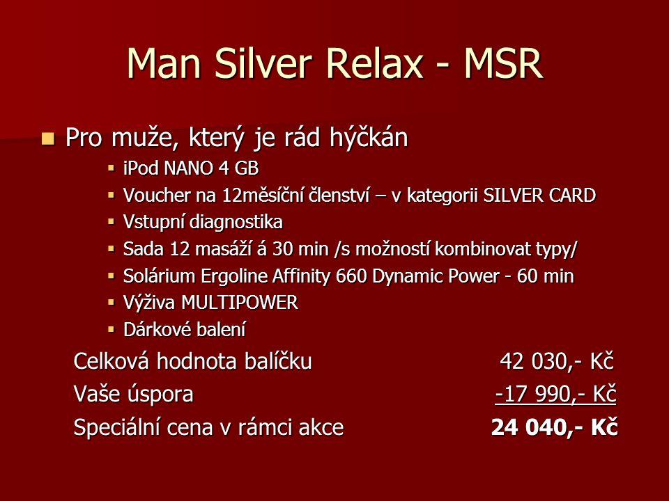 Man Silver Profi Spinning - MSPS  Pro opravdové muže s chutí vítězit  Sporttester POLAR CS300 nebo iPod NANO 4 GB  Voucher na 12měsíční členství – v kategorii SILVER CARD  Vstupní diagnostika  Tréninkový plán – www.cyklotrenink.com na 6 měsíců www.cyklotrenink.c  Trénink s osobním trenérem – 12 lekcí  Sada 12 masáží á 30 min /s možností kombinovat typy/  Výživa MULTIPOWER  Dárkové balení Celková hodnota balíčku 50 680,- Kč Vaše úspora -20 390,- Kč Speciální cena v rámci akce 30 290,- Kč