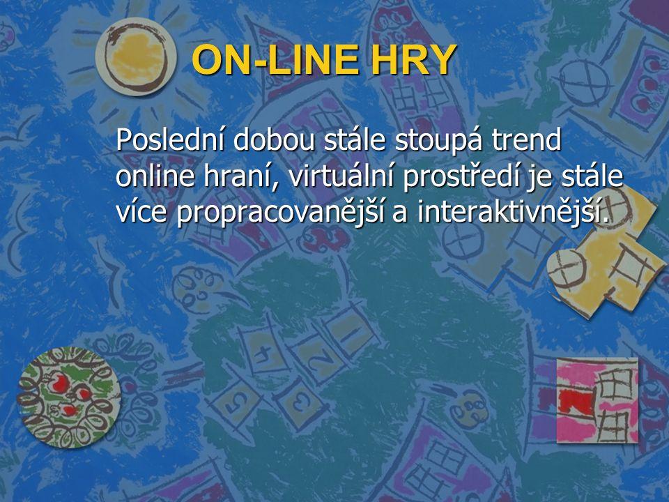 ON-LINE HRY Poslední dobou stále stoupá trend online hraní, virtuální prostředí je stále více propracovanější a interaktivnější.