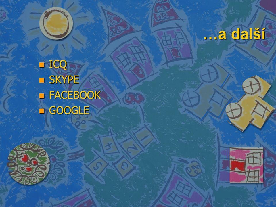 …a další n ICQ n SKYPE n FACEBOOK n GOOGLE