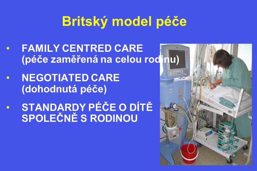 Britský model péče •FAMILY CENTRED CARE (péče zaměřená na celou rodinu) •NEGOTIATED CARE (dohodnutá péče) •STANDARDY PÉČE O DÍTĚ SPOLEČNĚ S RODINOU