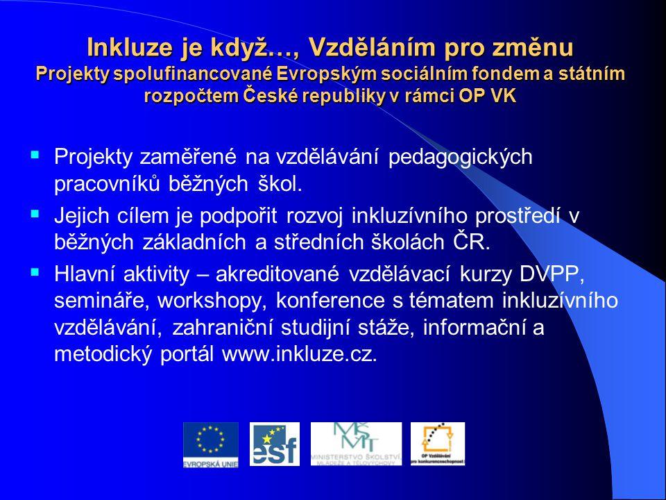 Inkluze je když…, Vzděláním pro změnu Projekty spolufinancované Evropským sociálním fondem a státním rozpočtem České republiky v rámci OP VK  Projekt
