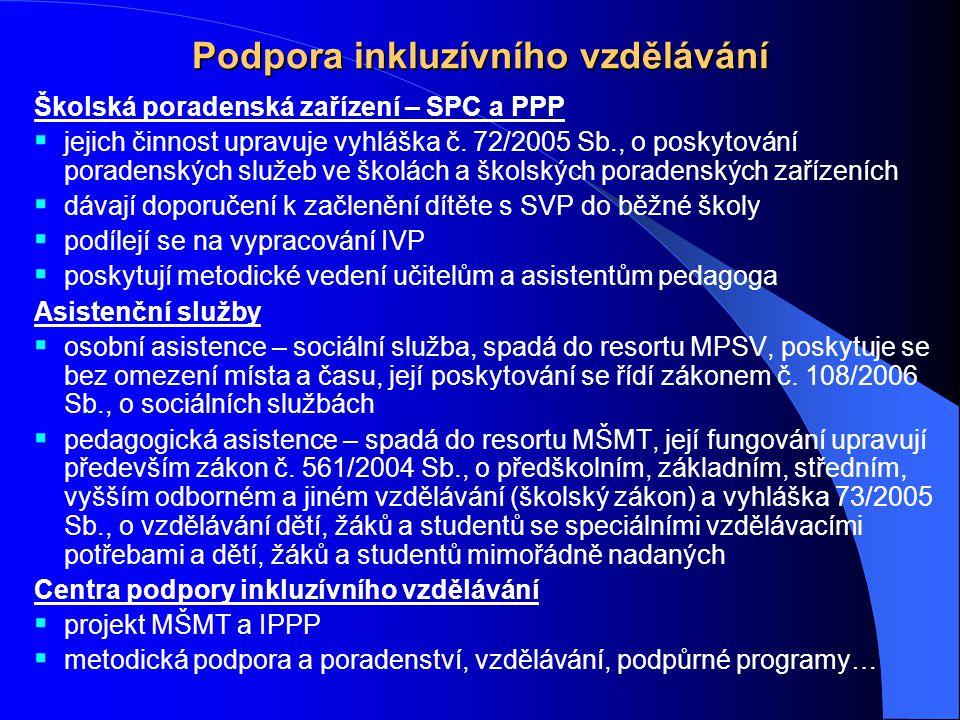 Podpora inkluzívního vzdělávání Školská poradenská zařízení – SPC a PPP  jejich činnost upravuje vyhláška č. 72/2005 Sb., o poskytování poradenských