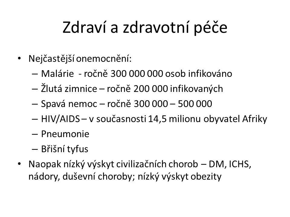 Zdraví a zdravotní péče • Nejčastější onemocnění: – Malárie - ročně 300 000 000 osob infikováno – Žlutá zimnice – ročně 200 000 infikovaných – Spavá n