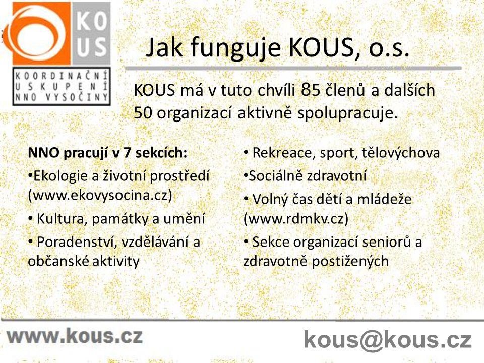 Jak funguje KOUS, o.s. KOUS má v tuto chvíli 8 5 členů a dalších 50 organizací aktivně spolupracuje. NNO pracují v 7 sekcích: • Ekologie a životní pro
