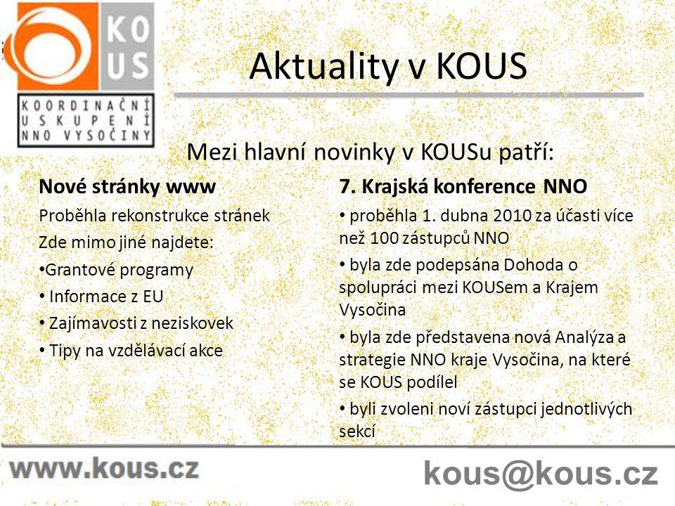 Členství v KOUS Budete-li mít zájem o členství, přihlášky můžete vyplnit na místě nebo si ji po zvážení můžete stáhnout na www.kous.cz V čem je členství v KOUS dobré pro Vás.