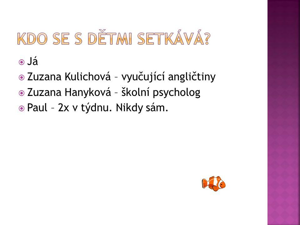  Já  Zuzana Kulichová – vyučující angličtiny  Zuzana Hanyková – školní psycholog  Paul – 2x v týdnu.