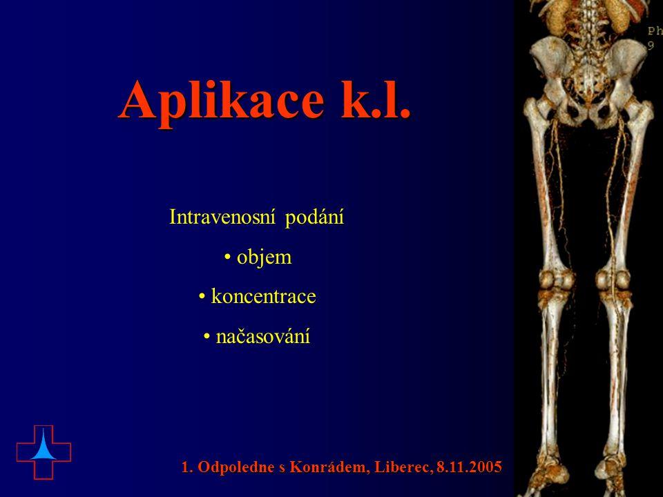 Aplikace k.l. Intravenosní podání • objem • koncentrace • načasování 1. Odpoledne s Konrádem, Liberec, 8.11.2005