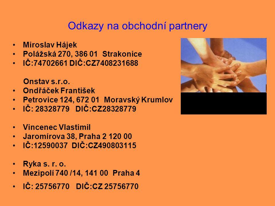 Odkazy na obchodní partnery •Miroslav Hájek •Polážská 270, 386 01 Strakonice •IČ:74702661 DIČ:CZ7408231688 Onstav s.r.o. •Ondřáček František •Petrovic