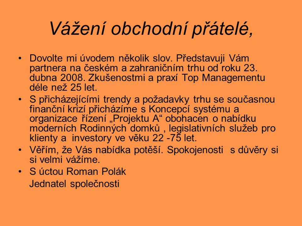 Vážení obchodní přátelé, •Dovolte mi úvodem několik slov. Představuji Vám partnera na českém a zahraničním trhu od roku 23. dubna 2008. Zkušenostmi a