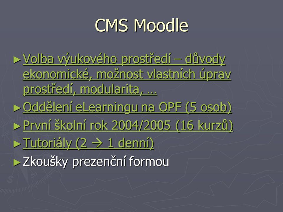 CMS Moodle ► Volba výukového prostředí – důvody ekonomické, možnost vlastních úprav prostředí, modularita, … Volba výukového prostředí – důvody ekonomické, možnost vlastních úprav prostředí, modularita, … Volba výukového prostředí – důvody ekonomické, možnost vlastních úprav prostředí, modularita, … ► Oddělení eLearningu na OPF (5 osob) Oddělení eLearningu na OPF (5 osob) Oddělení eLearningu na OPF (5 osob) ► První školní rok 2004/2005 (16 kurzů) První školní rok 2004/2005 (16 kurzů) První školní rok 2004/2005 (16 kurzů) ► Tutoriály (2  1 denní) Tutoriály (2  1 denní) Tutoriály (2  1 denní) ► Zkoušky prezenční formou