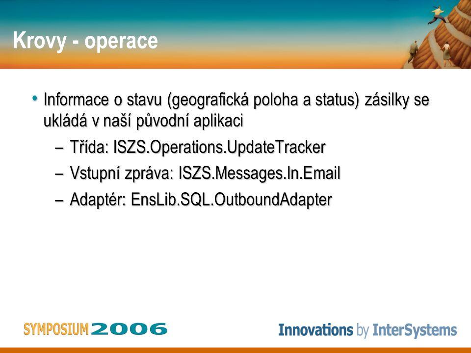 Krovy - operace • Informace o stavu (geografická poloha a status) zásilky se ukládá v naší původní aplikaci –Třída: ISZS.Operations.UpdateTracker –Vstupní zpráva: ISZS.Messages.In.Email –Adaptér: EnsLib.SQL.OutboundAdapter