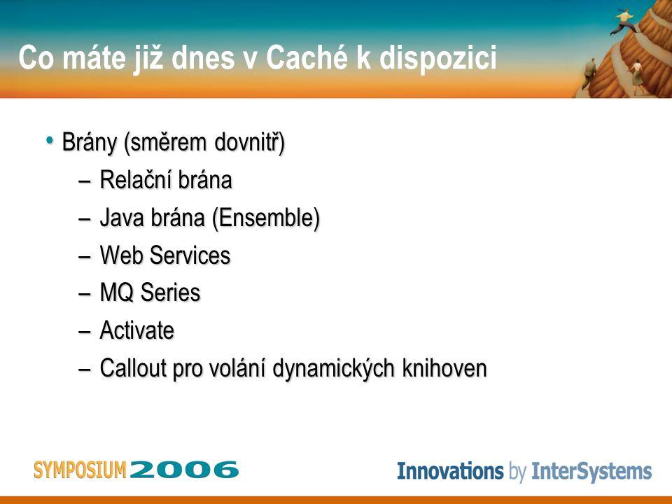 Co máte již dnes v Caché k dispozici • Brány (směrem dovnitř) –Relační brána –Java brána (Ensemble) –Web Services –MQ Series –Activate –Callout pro volání dynamických knihoven