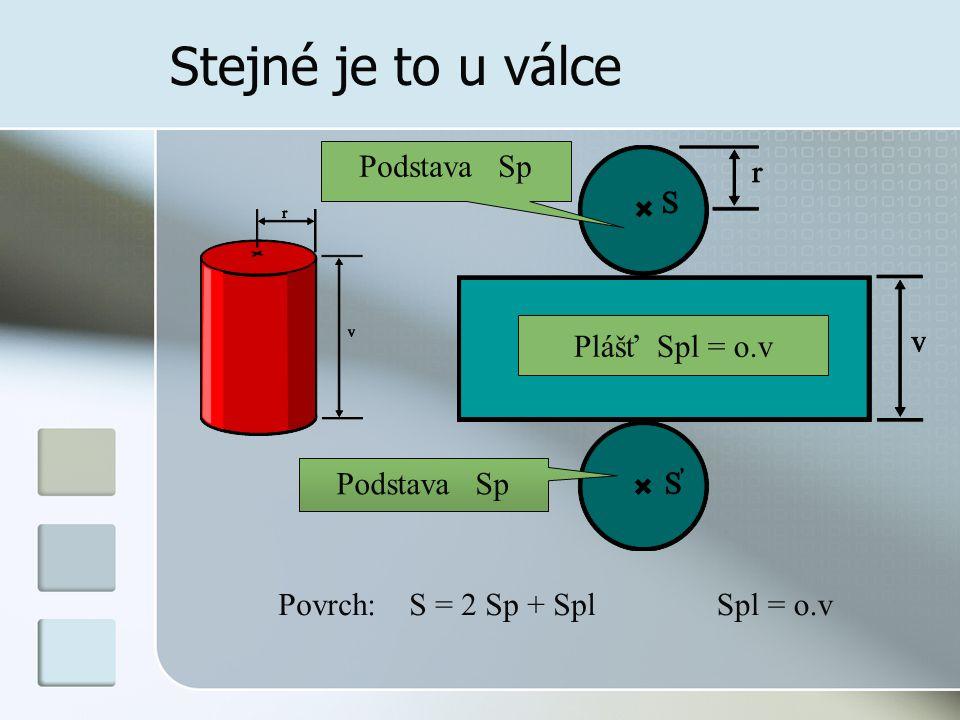 Stejné je to u válce Podstava Sp Plášť Spl = o.v Povrch: S = 2 Sp + SplSpl = o.v