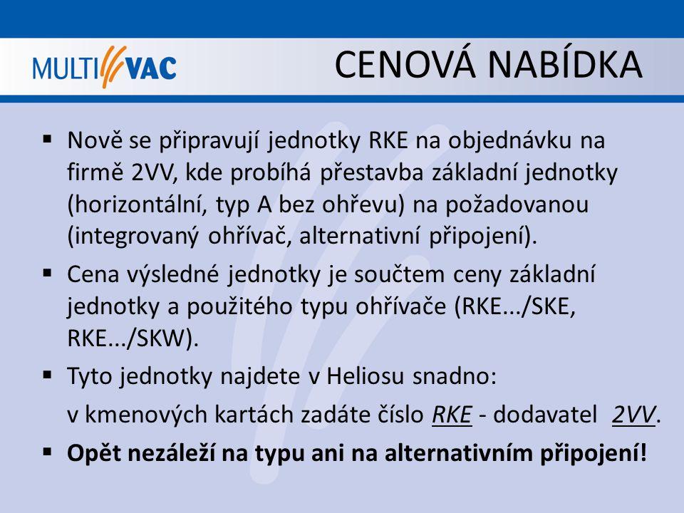 CENOVÁ NABÍDKA  Nově se připravují jednotky RKE na objednávku na firmě 2VV, kde probíhá přestavba základní jednotky (horizontální, typ A bez ohřevu)