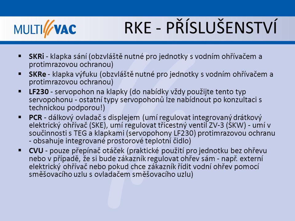 RKE - PŘÍSLUŠENSTVÍ  TEG - protimrazová ochrana (důležitá zejména pro jednotky s vodním ohřevem, aby nedošlo k zamrznutí vodního výměníku - lze jí však použít i pro jednotky s elektrickým ohřevem nebo bez ohřevu jako ochranu před zamrznutím výměníku - funguje pouze s ovladačem PCR)  AMF0002465 - externí kanálové čidlo pro ovladač PCR (pokud by zákazníkovi nestačilo řídit jednotku na základě tepelného čidla integrovaného přímo v ovladači PCR)  SAF - externí vodní výměník pro chlazení vzduchu (pouze pro studenou vodu!)  MS-3 - směšovací box (obsahuje tři klapky: směšovací klapku je nutné vybavit servopohonem - nutno řídit externě, protože ovladač PCR neumí směšování ovládat, klapky sání a výfuku jsou propojené jednou tyčí - stačí je tedy vybavit jedním servopohonem - celkem tedy 2 servopohony na celý směšovací box)  BCC - kruhový přechod (pouze kus plechu - přechod z hranatého vyústění na kruhové připojení)  FTK - kapsový filtr (třída filtrace F6, F7 nebo F8 - náhrada za standardní filtr G4 - pouze pro velikosti 14 a výš)  TPR - stříška pro vnější instalaci (další kus plechu, který jen o málo přesáhne samotnou jednotku - zajistí pouze to, že do jednotky shora nezateče voda)