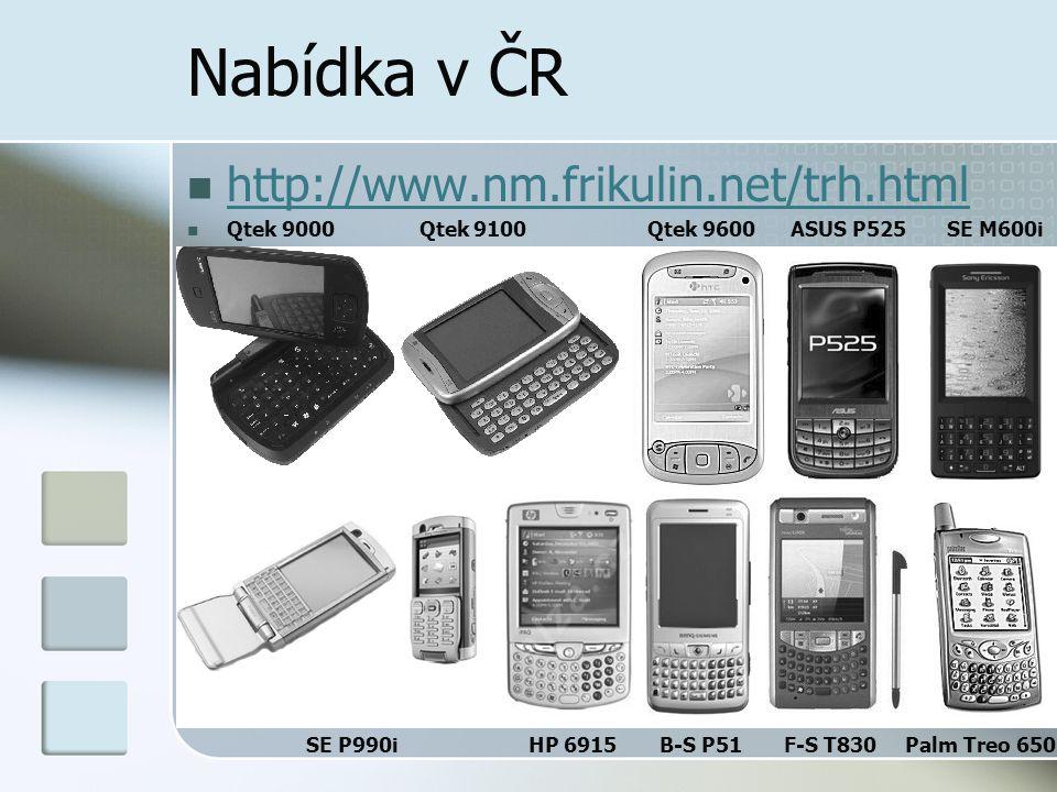 Nabídka v ČR  http://www.nm.frikulin.net/trh.html http://www.nm.frikulin.net/trh.html  Qtek 9000 Qtek 9100 Qtek 9600 ASUS P525 SE M600i SE P990i HP 6915 B-S P51 F-S T830 Palm Treo 650