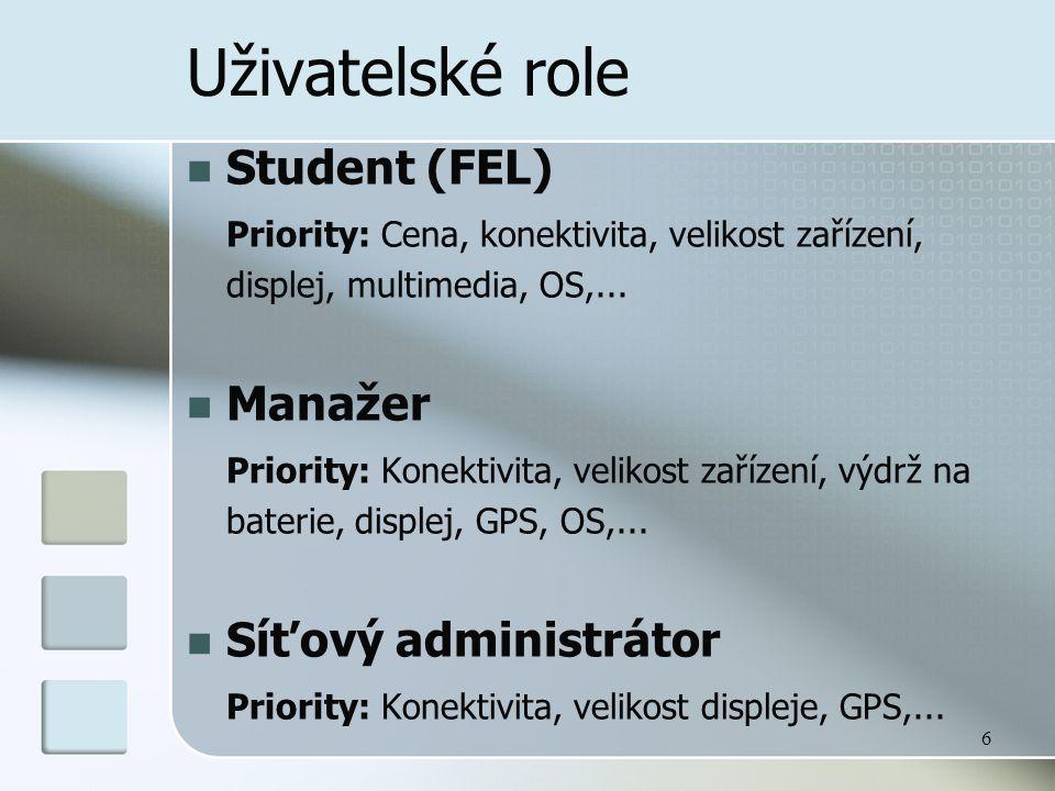6 Uživatelské role  Student (FEL) Priority: Cena, konektivita, velikost zařízení, displej, multimedia, OS,...  Manažer Priority: Konektivita, veliko