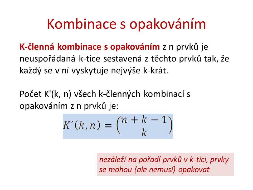 K-členná kombinace s opakováním z n prvků je neuspořádaná k-tice sestavená z těchto prvků tak, že každý se v ní vyskytuje nejvýše k-krát.