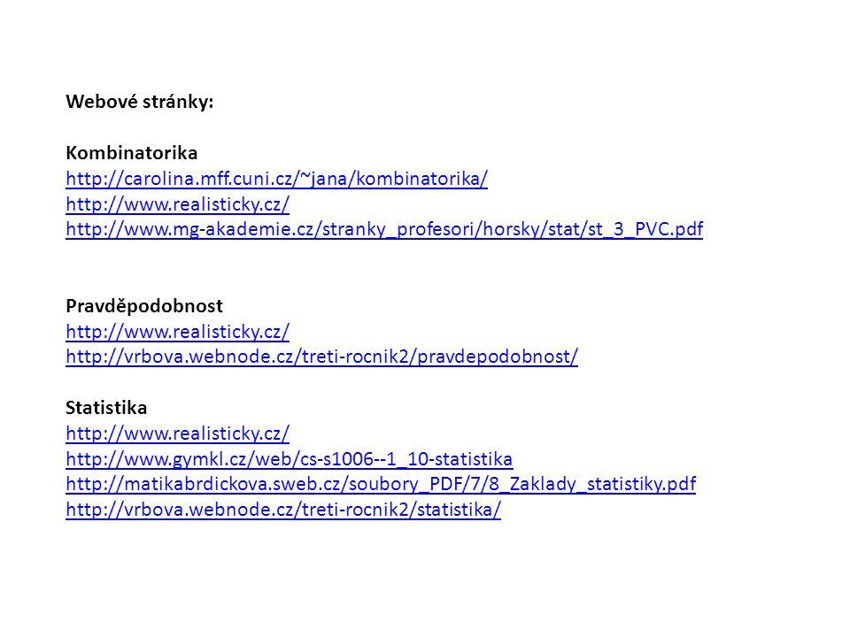Webové stránky: Kombinatorika http://carolina.mff.cuni.cz/~jana/kombinatorika/ http://www.realisticky.cz/ http://www.mg-akademie.cz/stranky_profesori/