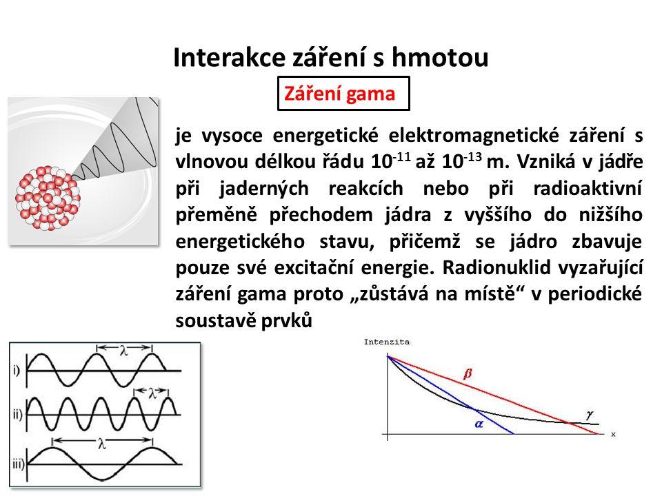 Interakce záření s hmotou je vysoce energetické elektromagnetické záření s vlnovou délkou řádu 10 -11 až 10 -13 m. Vzniká v jádře při jaderných reakcí