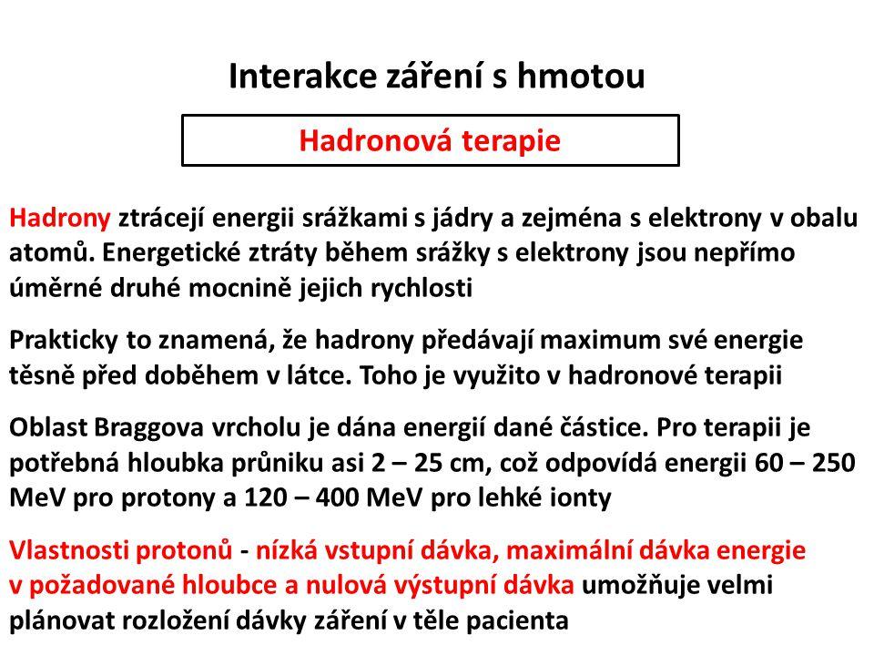 Interakce záření s hmotou Hadronová terapie Hadrony ztrácejí energii srážkami s jádry a zejména s elektrony v obalu atomů. Energetické ztráty během sr
