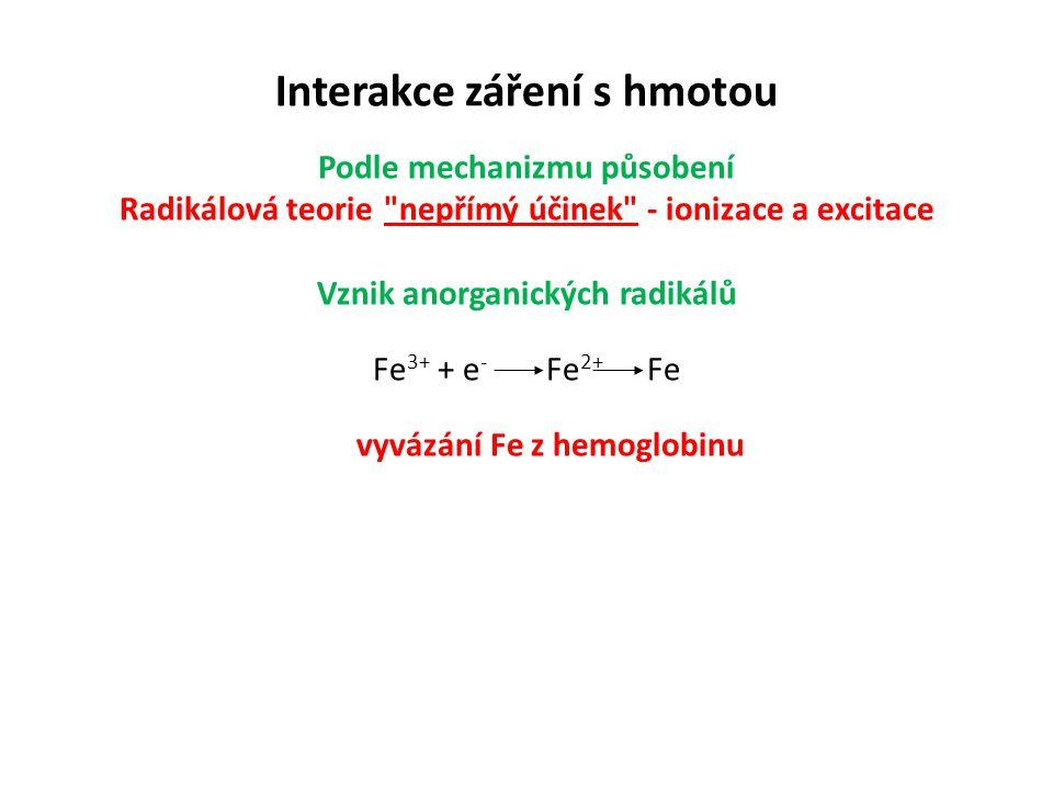 Interakce záření s hmotou Podle mechanizmu působení Radikálová teorie